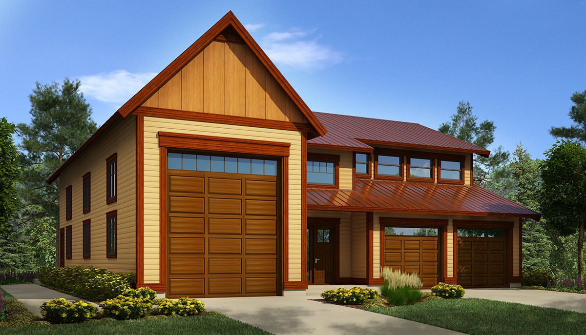 Garage Apartment Plans With Rv Storage Plan 9837sw Rv Workshop With Space Above Houses Rv Garage