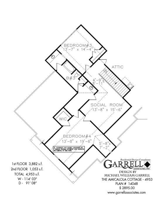 Amicalola Cottage 4953 House Plan 14048 2nd Floor Plan Mountain