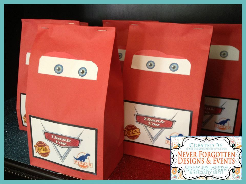 Disney Cars Goodie Favor Treat Bags With Custom Lightening McQueen Eyes And Thank You