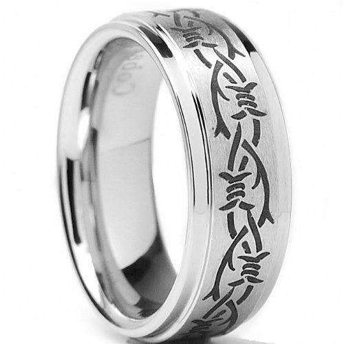 8MM Men\'s Cobalt Chrome Ring Wedding Band with Black Laser Etched ...