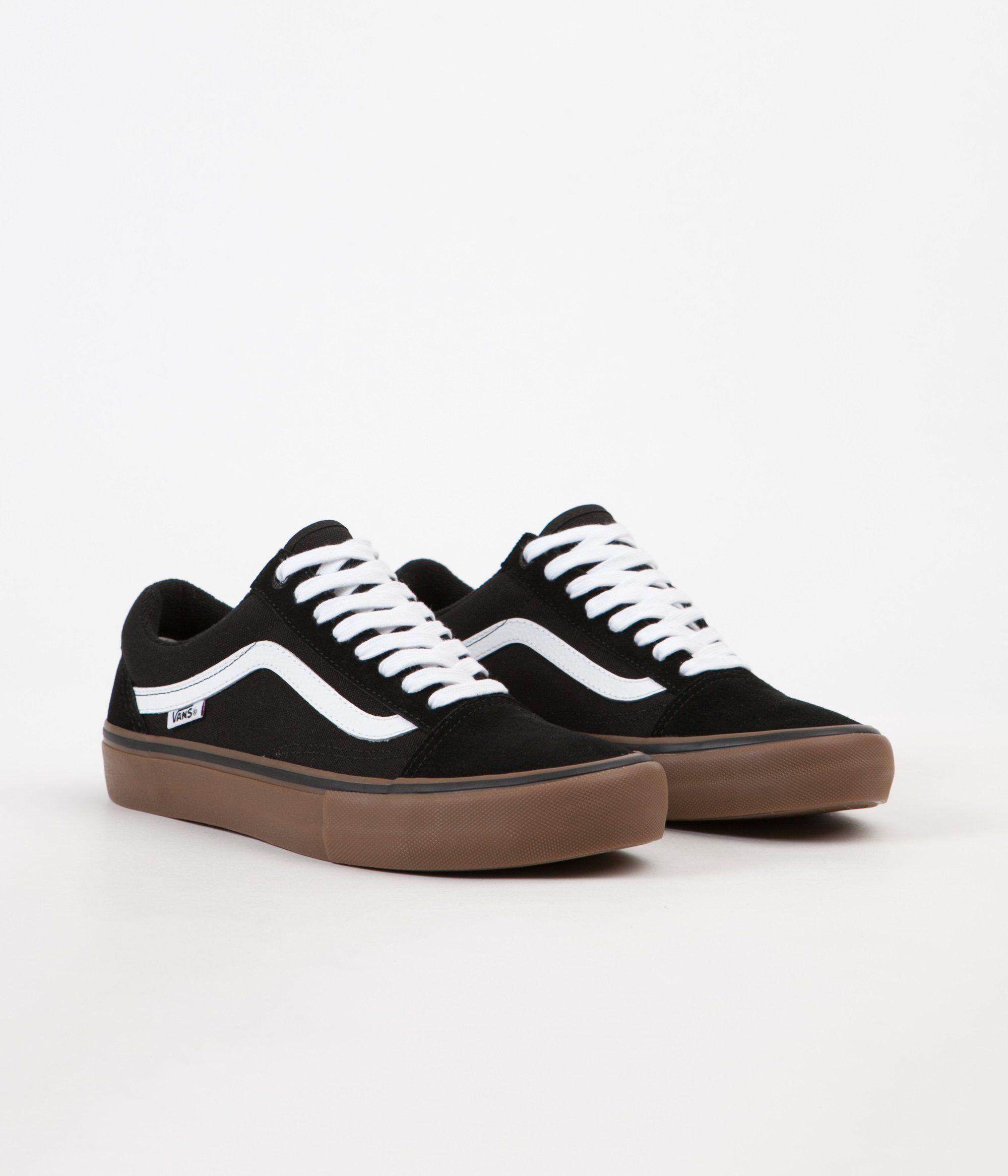 Vans Old Skool Pro Shoes Black White Medium Gum in