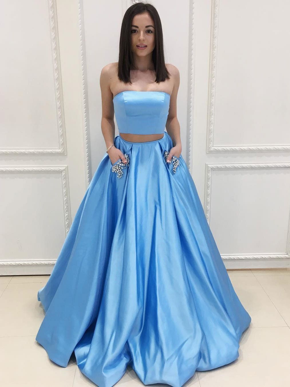 Aline strapless blue satin piece long prom dresses with pocket