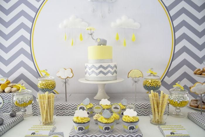Grey Elephant Themed Baby Shower Baby Shower Yellow Grey Baby