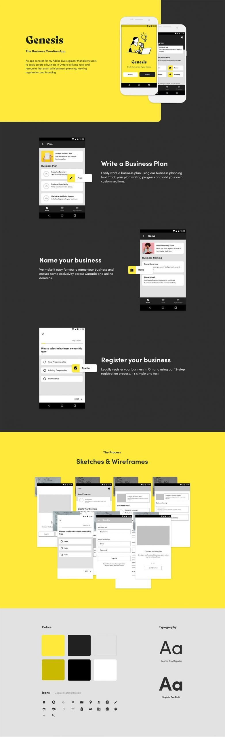 Genesis The Business Creation App Template Adobe XD in