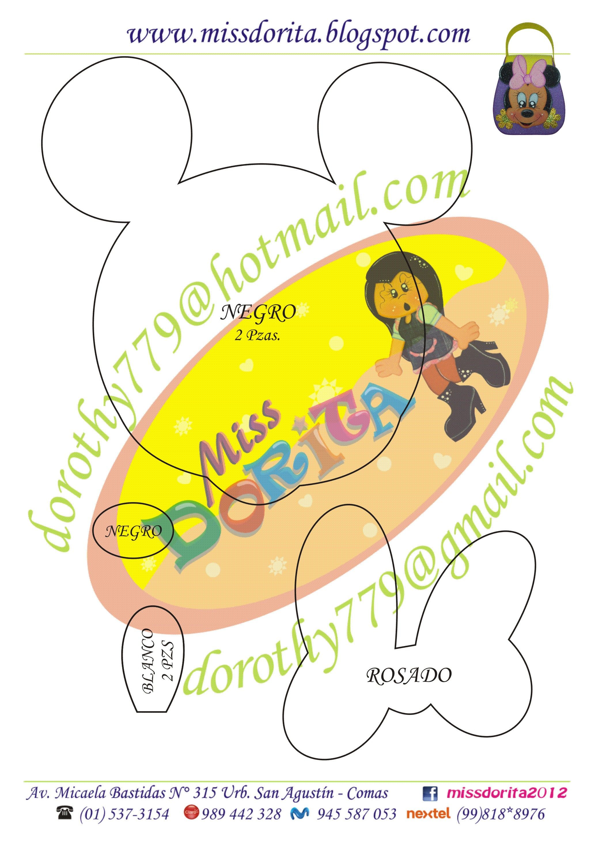 Bolsita minnie2 | Mickey Mouse y Minnie Mouse / moldes, patrones ...