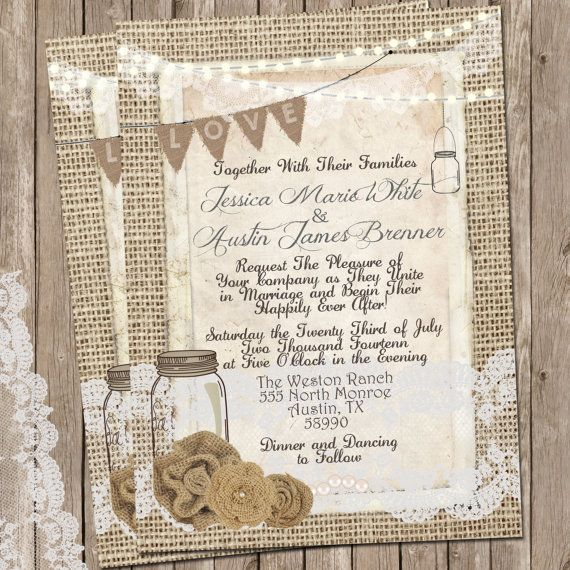 Rustic wedding invitation burlap and lace wedding invitation invite ideas rustic burlap and lace wedding invitation solutioingenieria Gallery