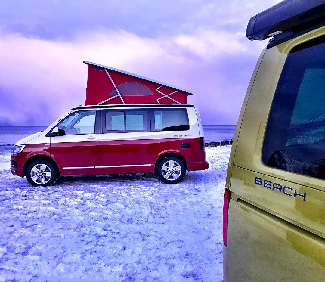 vw t6 california ocean at the snowy beach on lofoten vw. Black Bedroom Furniture Sets. Home Design Ideas