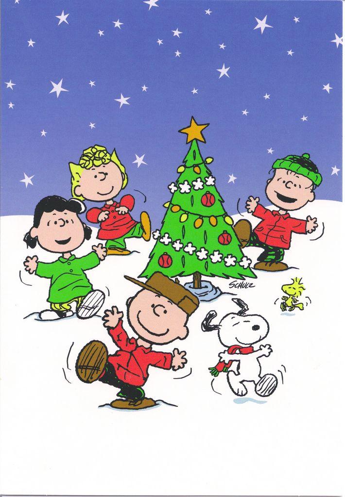 Christmas Dancing Cartoon.Snoopy Gang Dancing Around Christmas Tree Christmas Card