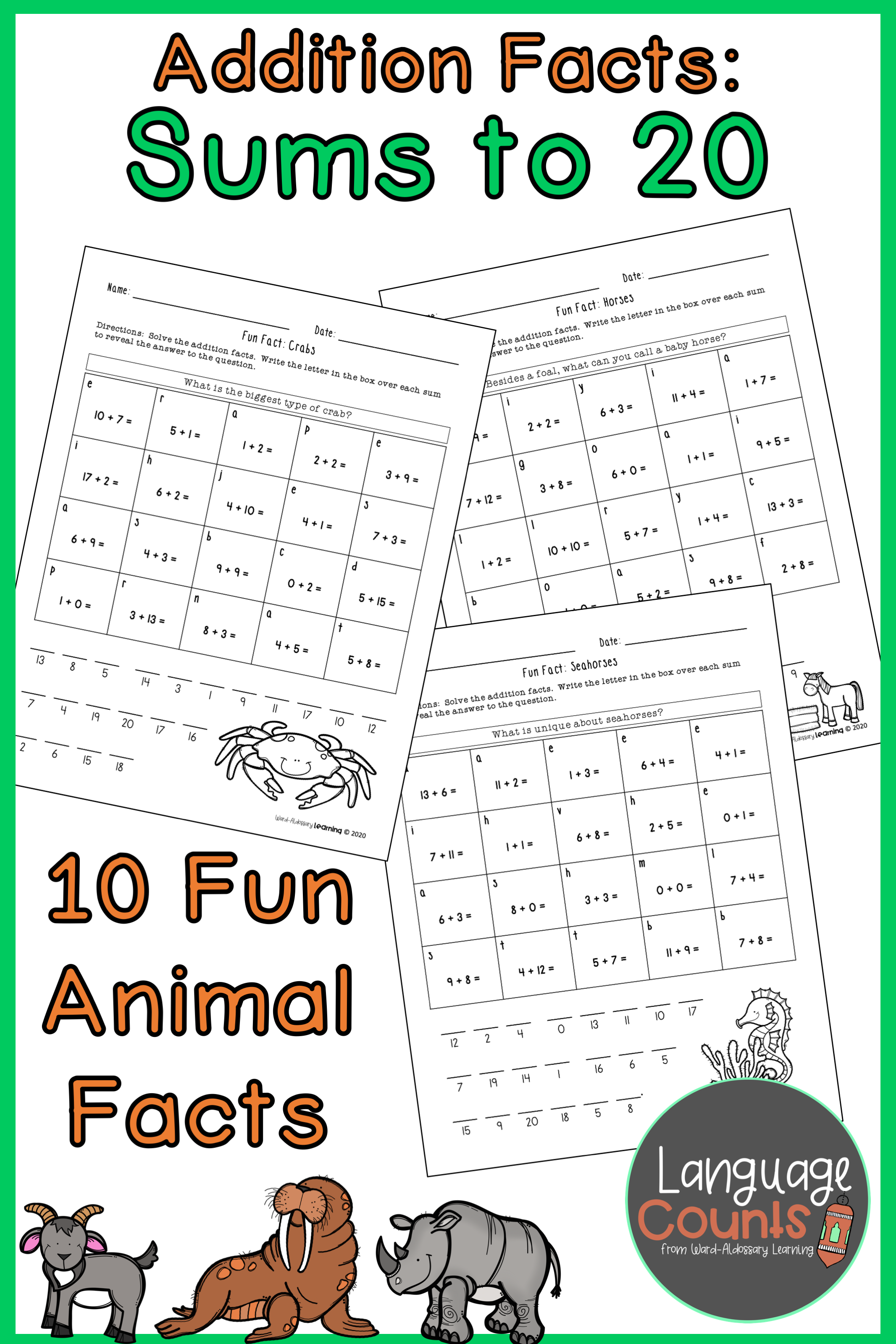 Add Sums To 20 Code Puzzle Animal Fun Facts In