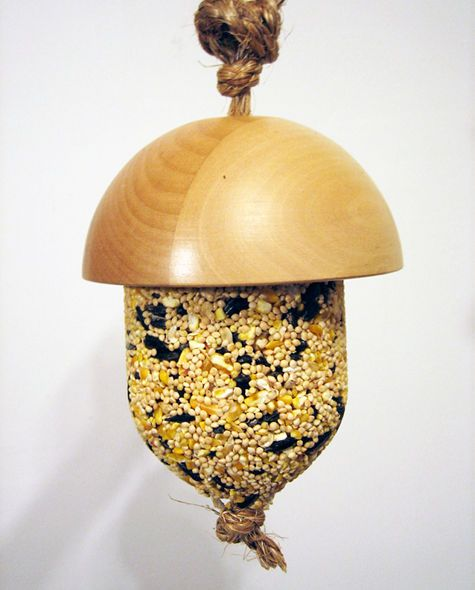 Kate's Acorn Bird Feeder DIY project. Love this! Wonder if it would keep the Starlings, Black birds, and Red winged blackbirds will leave it alone.