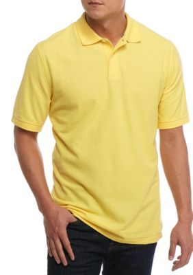 6c7097af7fb Saddlebred Men s Big   Tall Short Sleeve Solid Pique Polo Shirt - Yellow -  2Xlt