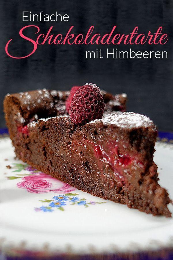 Einfache Schokoladentarte mit Himbeeren - Aus meinem Kochtopf