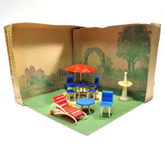 DollHouse Garden Furniture Vintage Miniature Boxed Set Plasco Toy Company  1940s Doll House Patio Set Original Box Little Homemaker Room Box