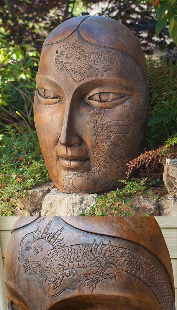 Tattooed Face, Dragon Lily Ornamental Concrete Face Portrait For Garden Or  Outdoor Patio.