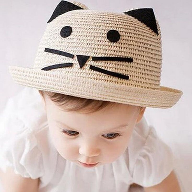 eccbdc3766a Click to Buy    Dollbling Cartoon Baby Straw Hat with Ears Candy Color  Children Panama Summer Hats for Kids Boys Girls Cap for 1-3 Years  Affiliate