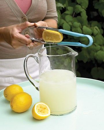 Tongs  Here's another trick for your summer lemonade: Use a pair of sturdy tongs to get more juice out of citrus fruits. Cut the fruit in half, and place a piece between the prongs. Working over a pitcher, squeeze the open end of the tongs with both hands. When finished, pour the juice through a sieve.