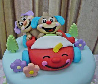 Amazing Fisher Price Theme Cake With Images Puppy Birthday Theme Personalised Birthday Cards Beptaeletsinfo