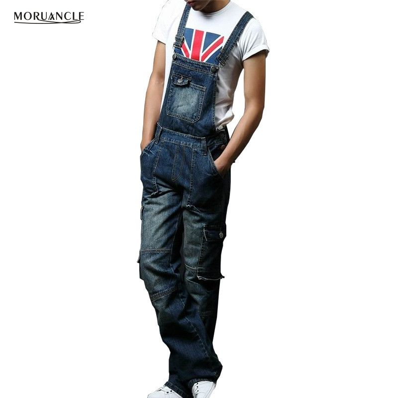 0f38a7f53fd Mens Baggy Multipockets Denim Bib Overalls Loose Jeans Jumpsuits For Male  Suspender Pants Cargo Jeans Plus ...