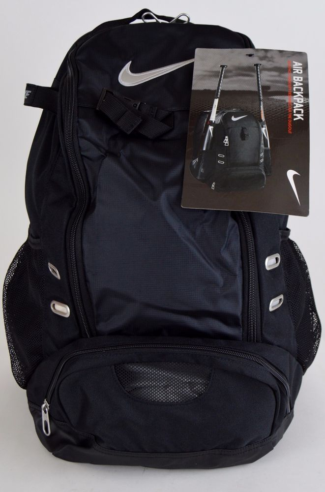 NEW Nike Air Double Play Baseball Softball Dual Bat Bag BackPack  Black Silver  Nike 0d8227e5f568