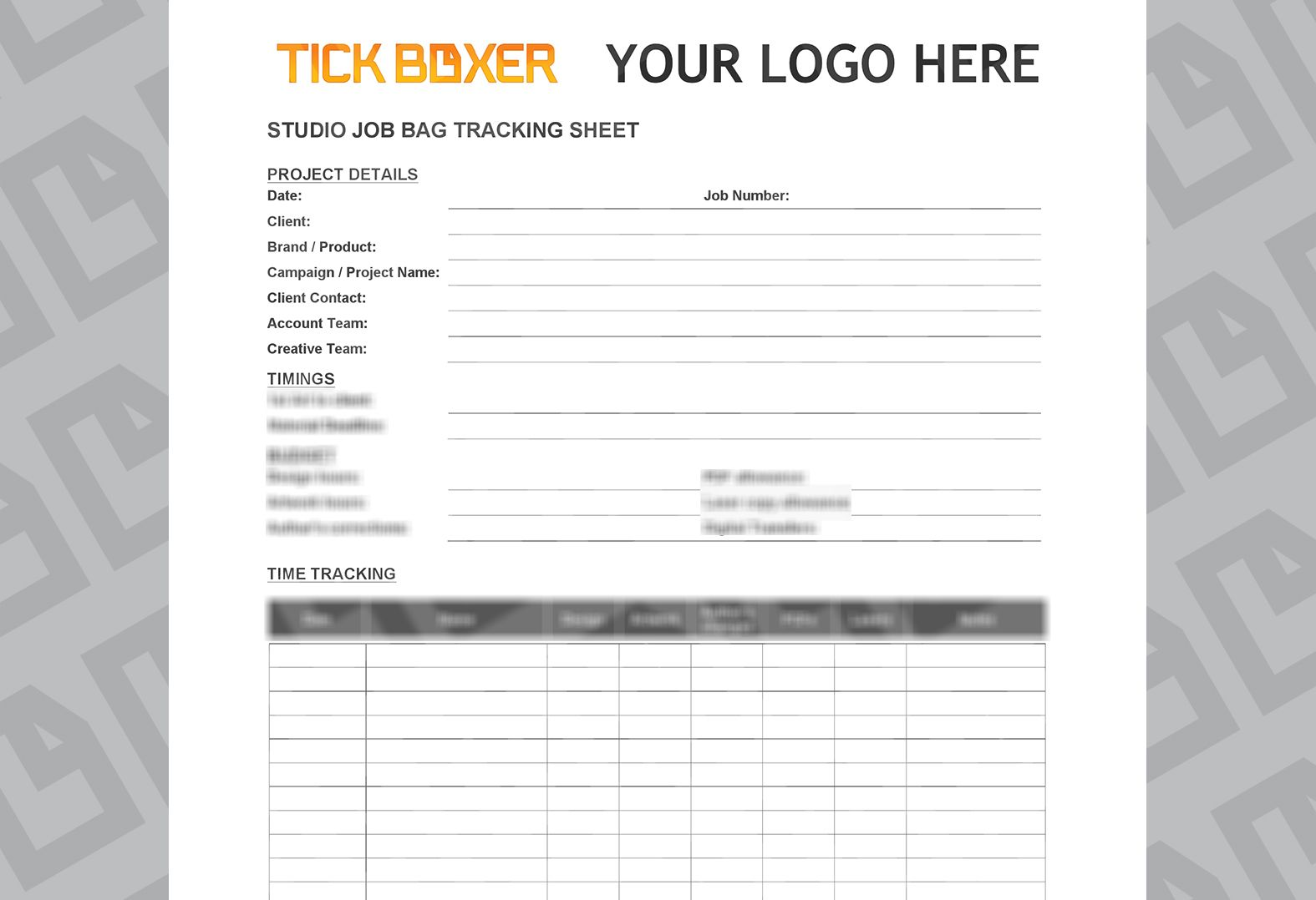 A Studio Job Bag Cover Sheet To Track Time And Costs Against Studio Budget  For Marketing, Advertising And Design Projects   Including Examples And ...  Job Sheets Examples