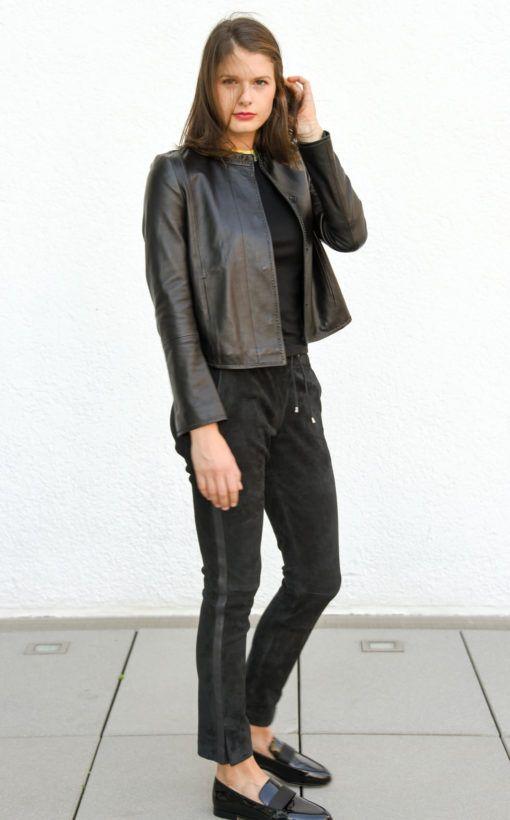Damen Lederjacke, hochgeschlossen, Schwarz | wunschleder
