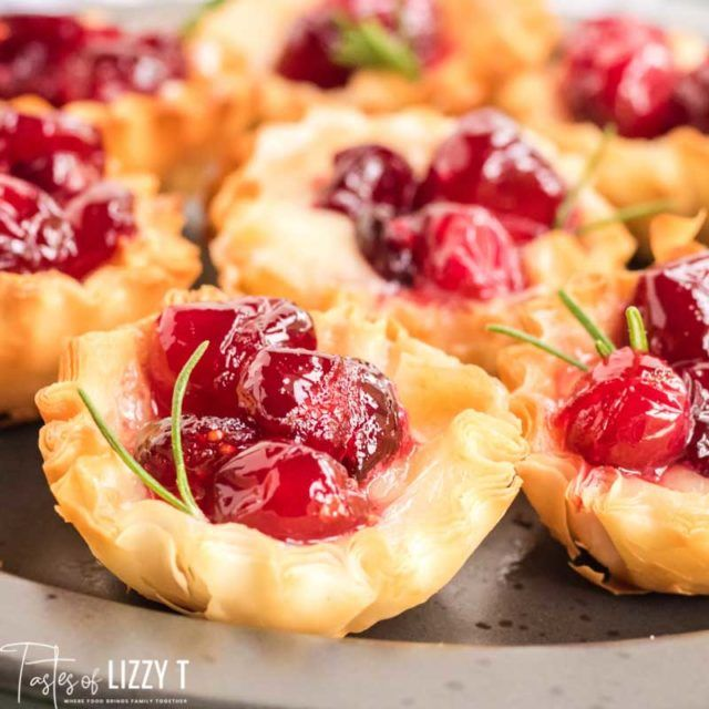Cranberry Brie Bites {Holiday Party Appetizer in Phyllo Cups}
