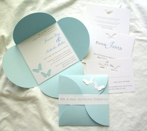 Butterfly 6 x 6 Petal Wedding Invitation by bellybeancards on Etsy, $4.00