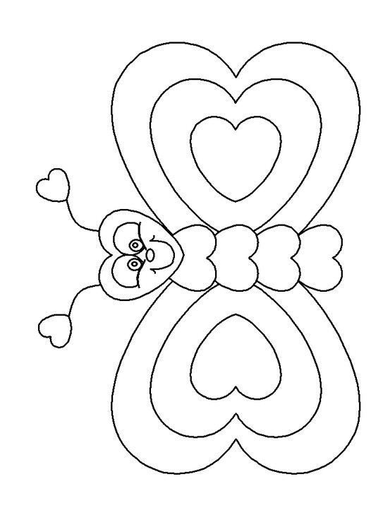 Valentines Day Hearts Butterfly Valentine Coloring Pages