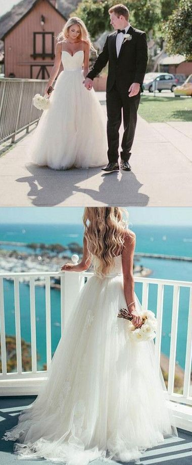 Wedding Dress Lace Dramatic Sweetheart Sweep Train Spaghetti Straps Ivory With