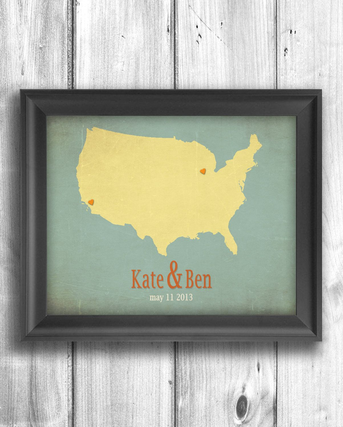 Personalized engagement gift Wedding sign State map print Wall decor ...