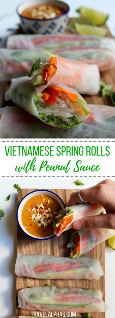 Vietnamese Spring Rolls with Spicy Peanut Sauce Looking for an easy and healthy, yet super satisfying Vietnamese spring rolls recipe? These vegan, gluten-free rolls are packed with fresh vegetables, flavorful herbs, noodles, and lots of beautiful, bright colors. And they're complete with a deliciously spicy peanut dipping sauce!
