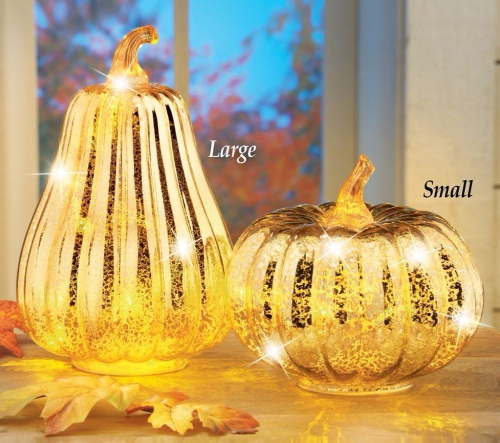 Elegant Lighted Glass Pumpkin Set of Two LED Lights Gold Foil Finish ...