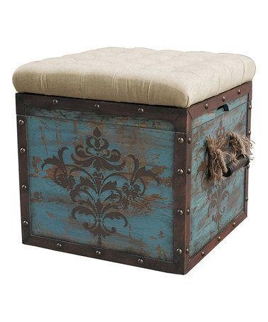Loving this Tufted Antique Crate Storage Ottoman on #zulily ...