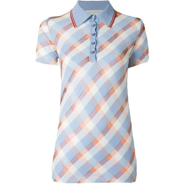 988ae0973 Stella McCartney Checked Polo Shirt (975 NZD) ❤ liked on Polyvore featuring  tops, blue, polo shirts, checkered top, short sleeve polo shirts, short  sleeve ...