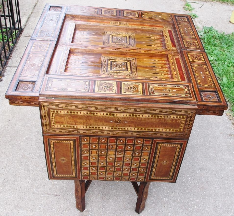 Elegant Profusely Inlaid Antique Syrian Middle Eastern Game Table C. 1890