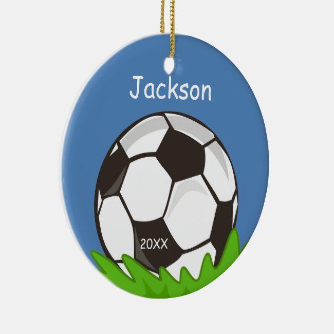Kids Personalized Soccer Ball Keepsake Ceramic Ornament   Zazzle.com   How to make ornaments ...