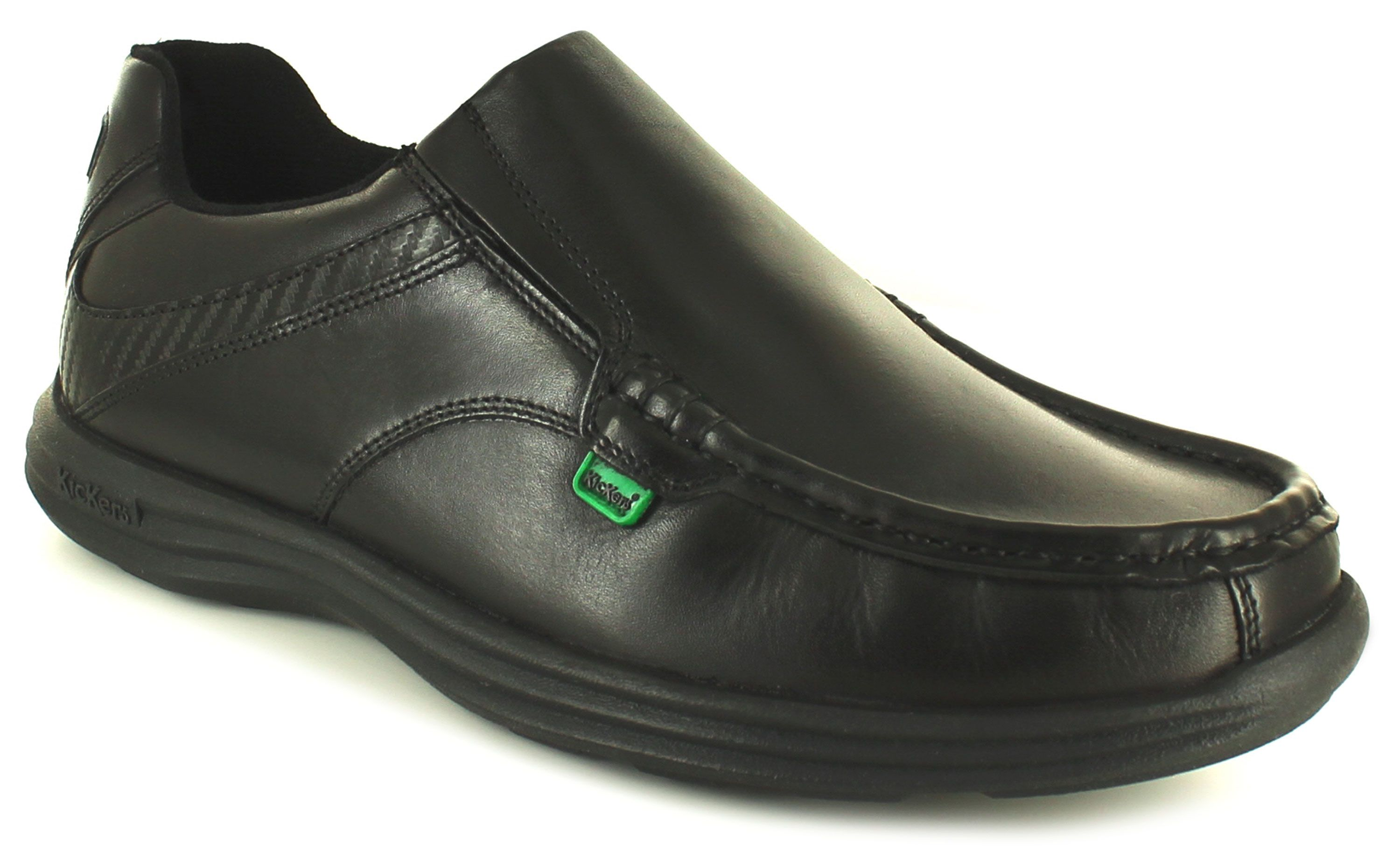 mens kickers black leather velcro shoes