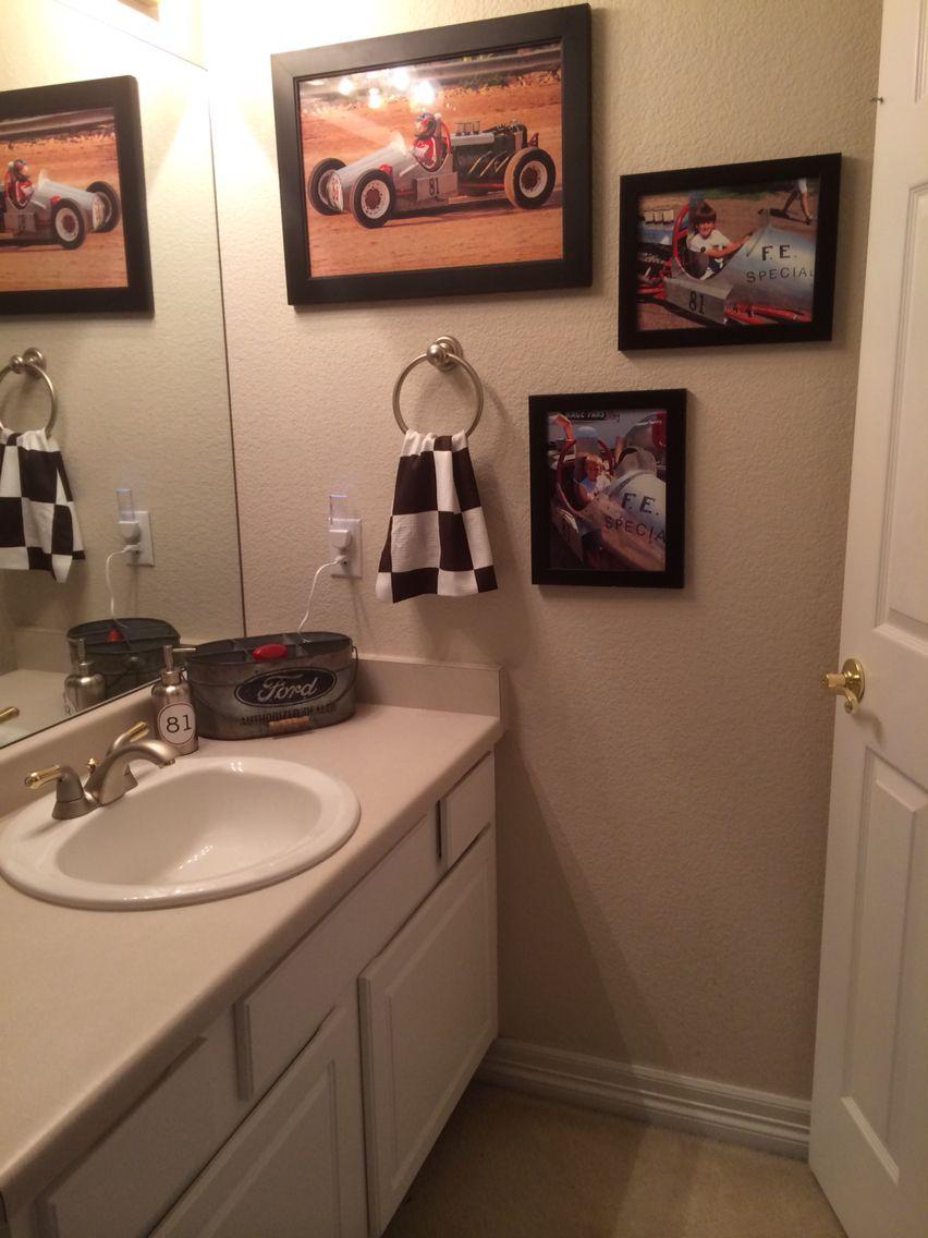 Teen boy bathroom. Vintage Race Car theme. Checkered flag towel, Ford  silverware holder
