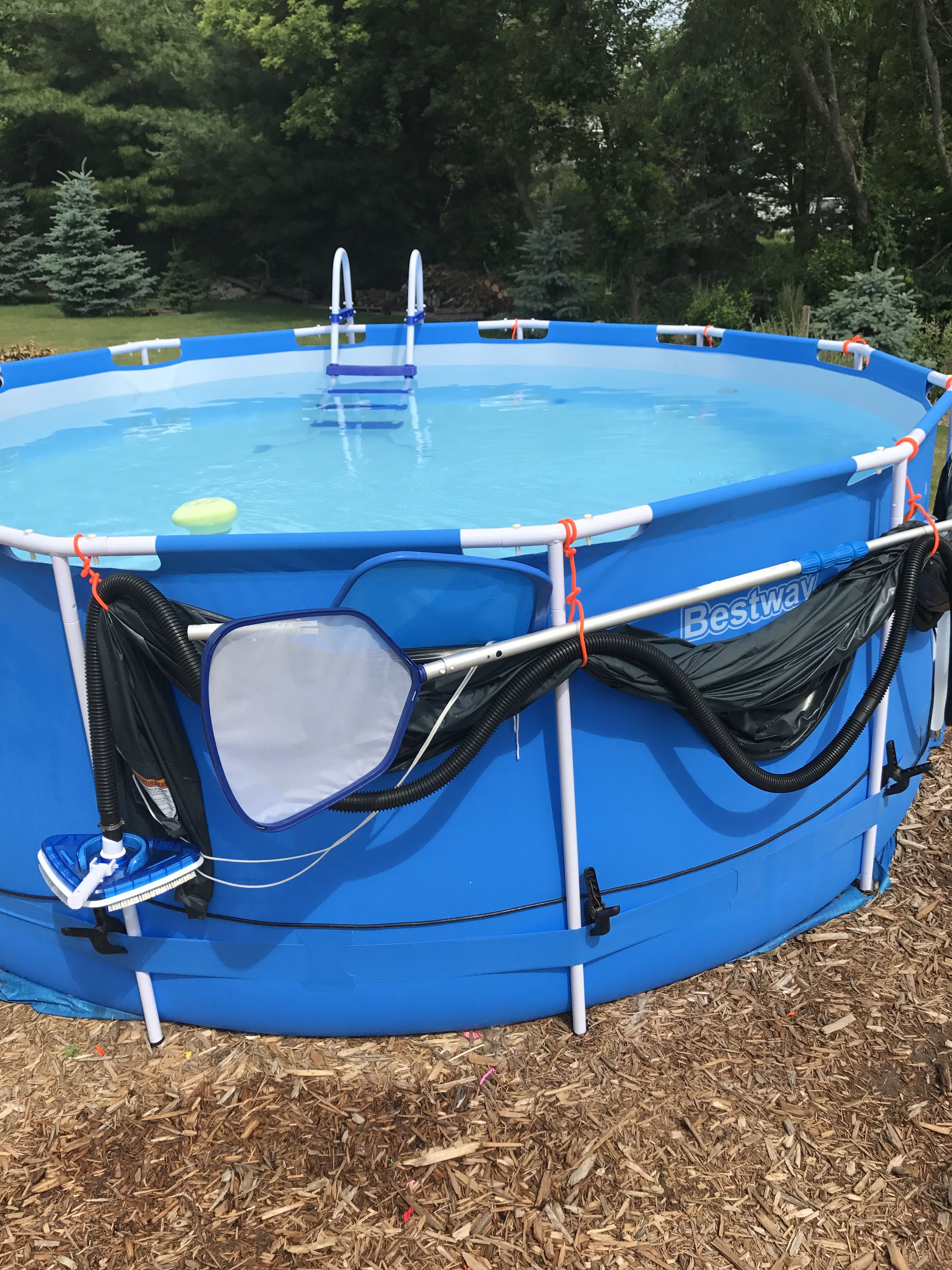 Pop Up Pool Easy Storage And Maintenance Using Elastic Tie Straps To Hold Pool Toys And Accessories For Easy Access And Won T Blo Simple Storage Pool Toys Pool
