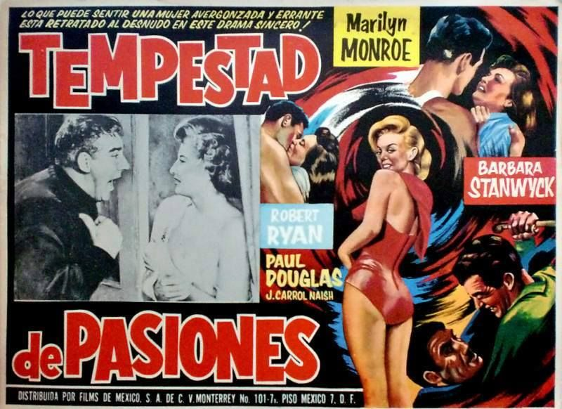 """Clash by Night"" - Barbara Stanwyck, Robert Ryan, Paul Douglas and Marilyn Monroe. Mexican Movie Poster, 1952."