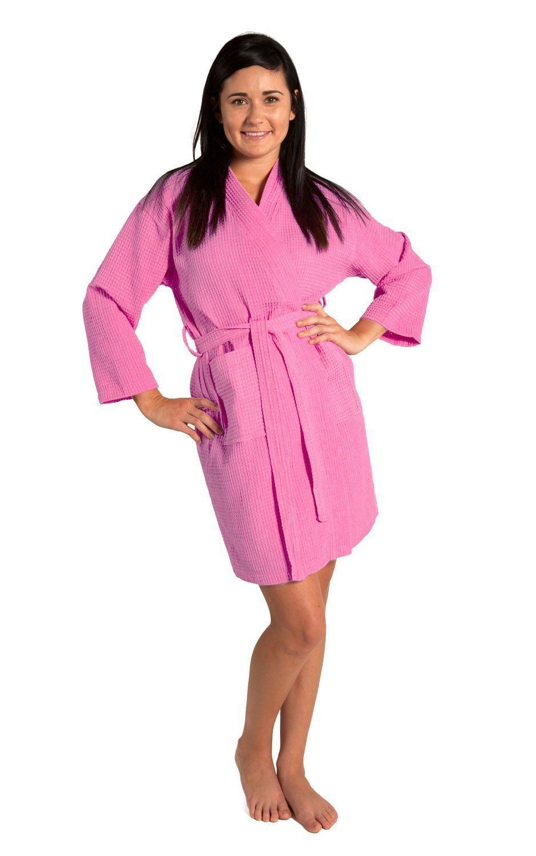 Tight Lenght Waffle Kimono Robe - Women - Pink - Adult - XXLarge