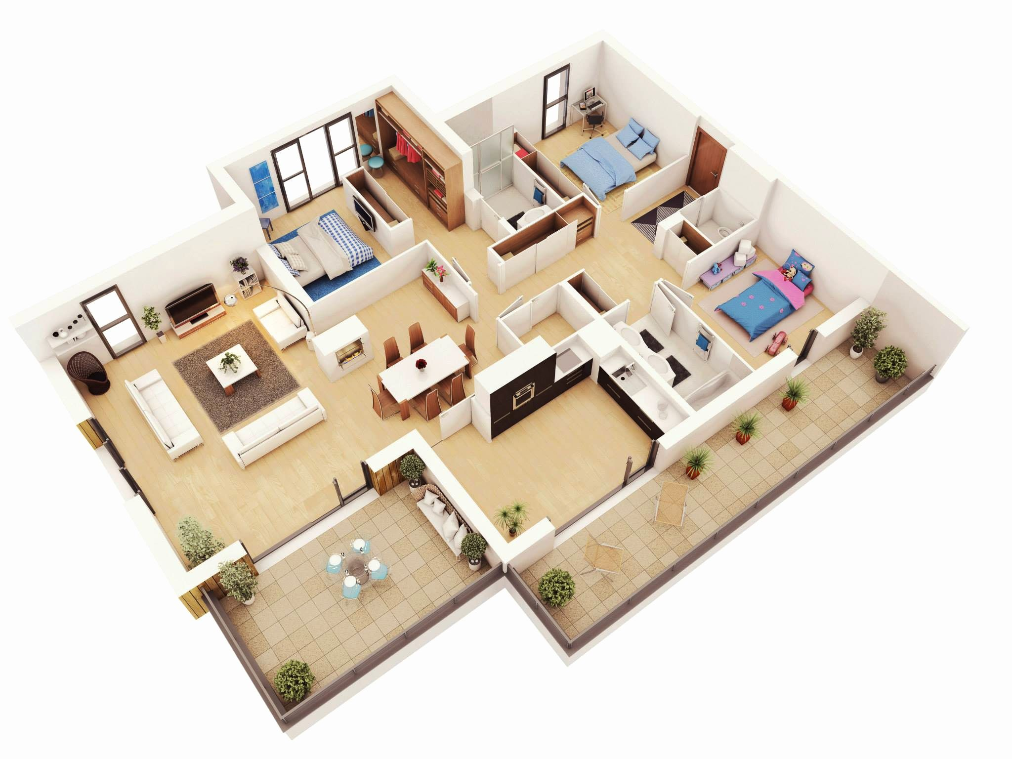 3 Roomed House Plans Beautiful 25 More 3 Bedroom 3d Floor Plans In 2020 3d House Plans Bedroom House Plans House Floor Plans