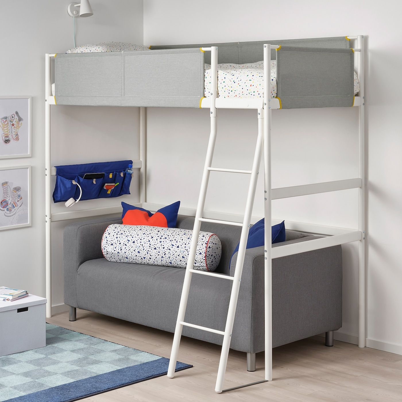Vitval Loft Bed Frame White Light Gray Ikea Loft Bed Frame