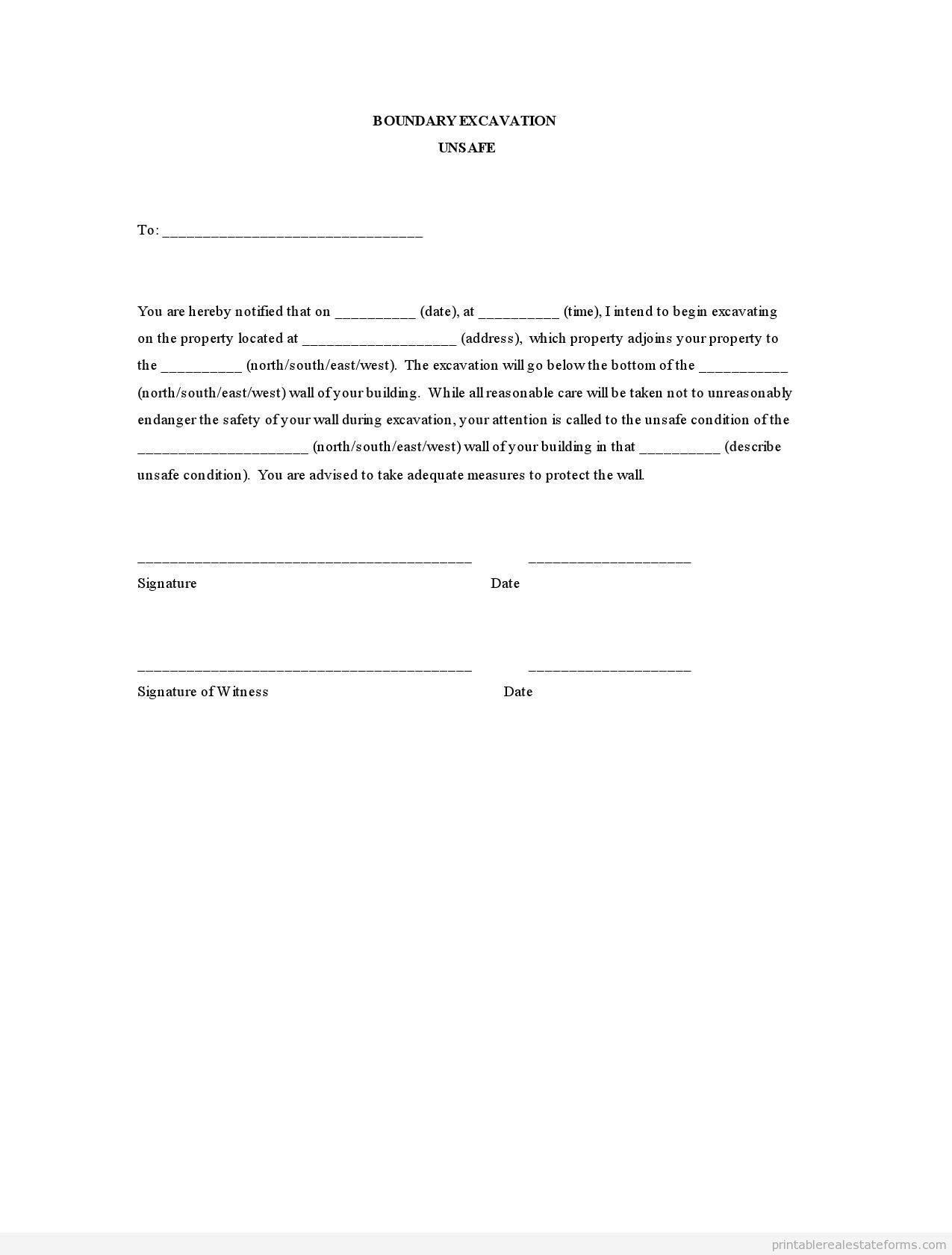 Sample Printable Boundary Excavation Unsafe Form