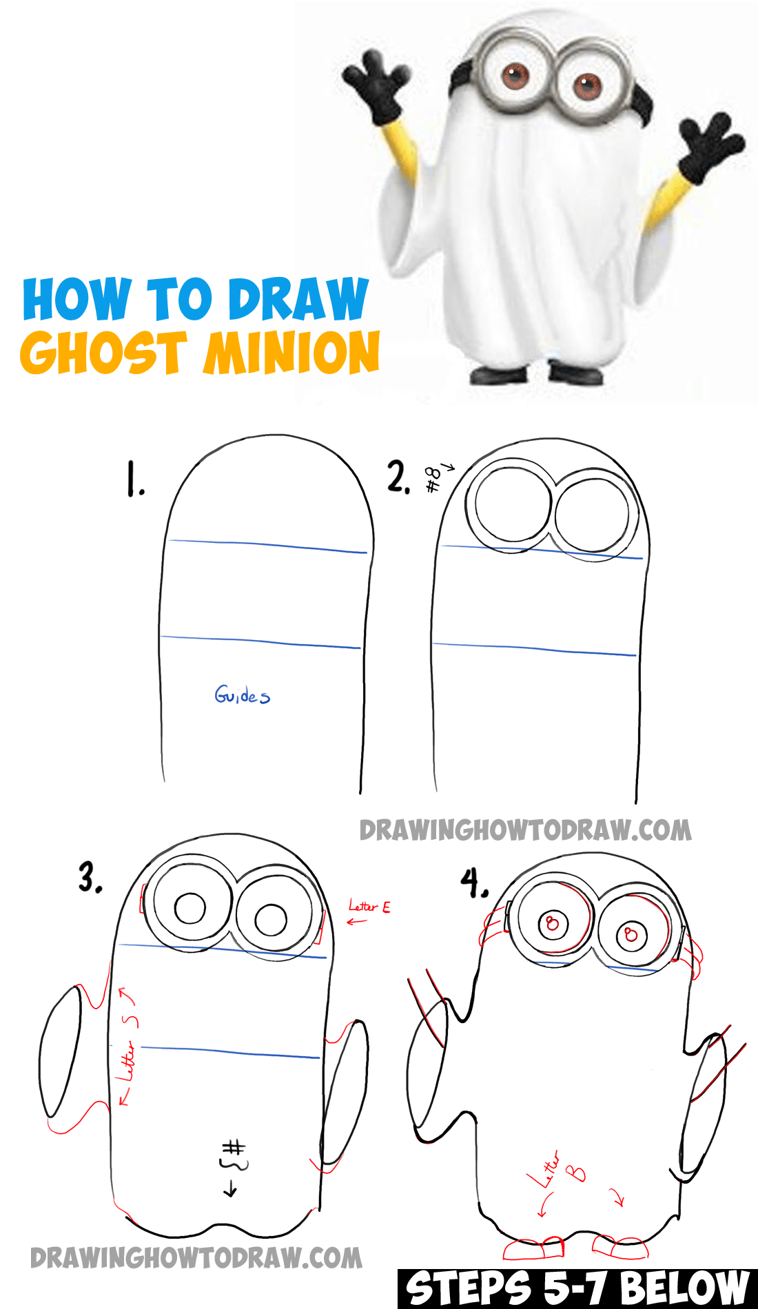 How To Draw Ghost Minions For Halloween And Trick Or Treating Drawing Tutorial How To Draw Step By Step Drawing Tutorials Step By Step Drawing Halloween Drawings Drawing Tutorial