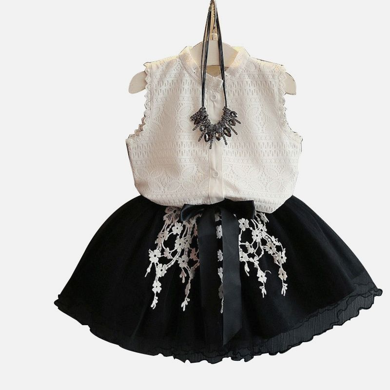 6094b1ea5b00 2018Summer 2PCS Baby Girls Toddler Lace T-shirt Tops Skirt Set Outfits  Clothes Fashion Style