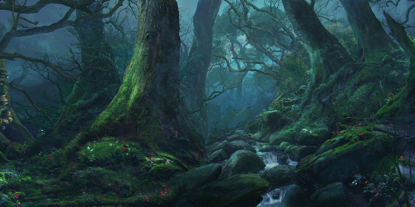 Artstation Silence Of Night Forest Sergey Hudyakov Night Forest Fantasy Landscape Forest Backdrops