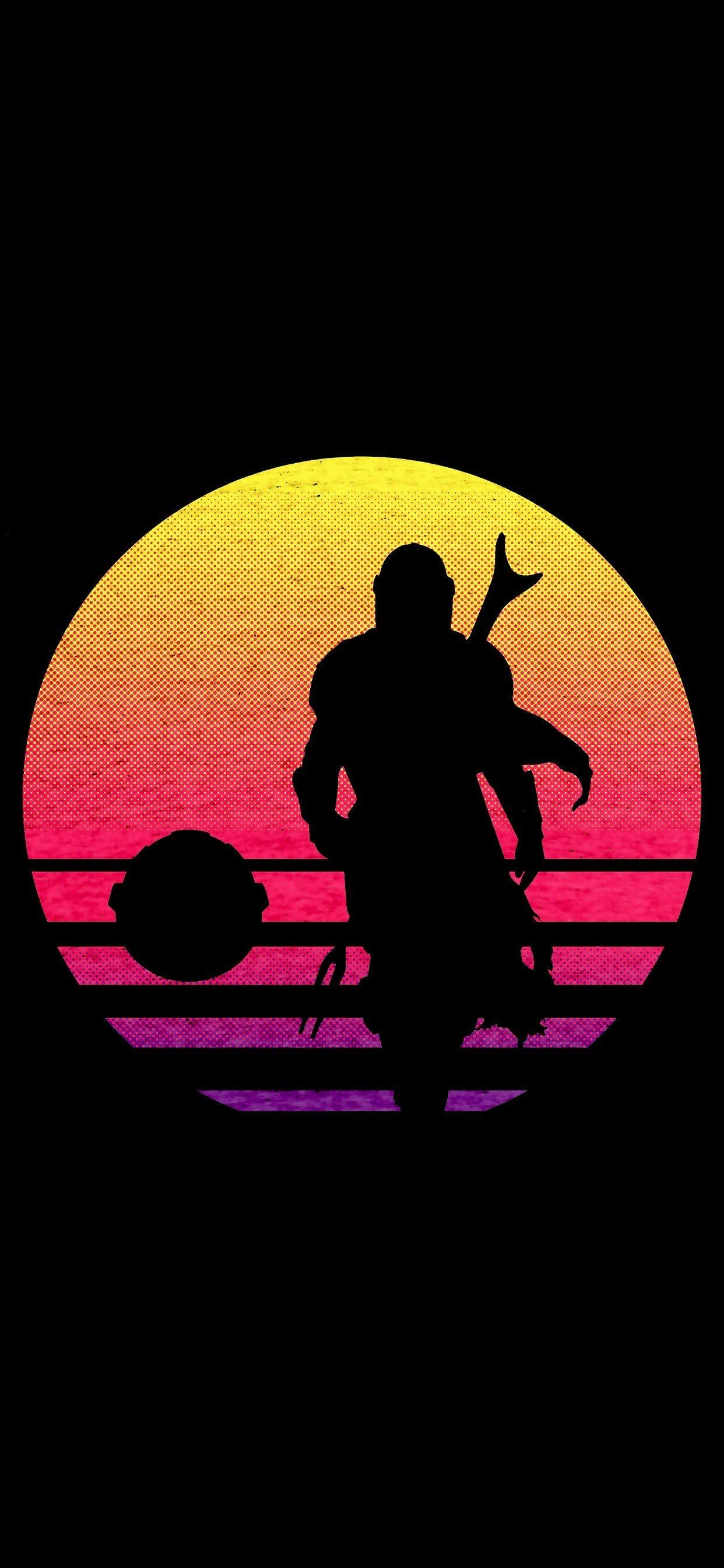 The Mandalorian Iphone Wallpaper In 2020 Star Wars Background Star Wars Poster Star Wars Silhouette