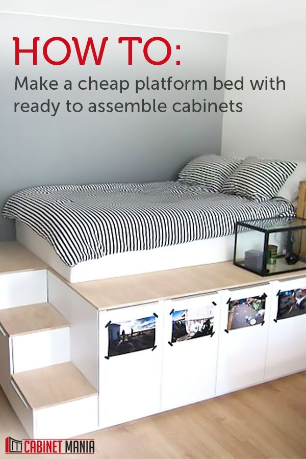 Photo of This Cheap Platform Bed Is Made with RTA Cabinets!