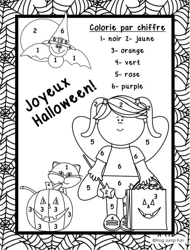 french halloween math freebie adjectifs halloween math halloween worksheets bricolage. Black Bedroom Furniture Sets. Home Design Ideas